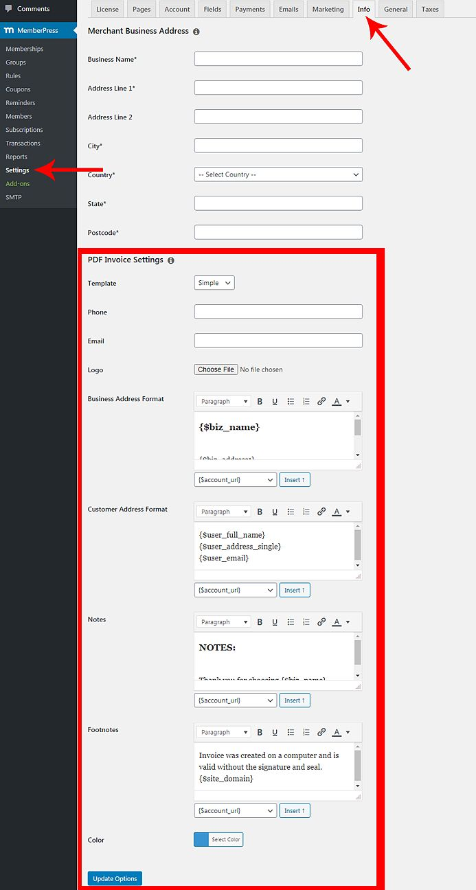 how to make a pdf invoices in wordpress