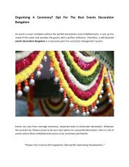 Organizing A Ceremony Opt For The Best Events Decoration Bangalore.pdf