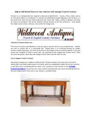 Add an Old World Charm to Your Interiors with Antique French Furniture.pdf