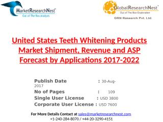 United States Teeth Whitening Products Market Shipment, Revenue and ASP Forecast by Applications 2017-2022.pptx
